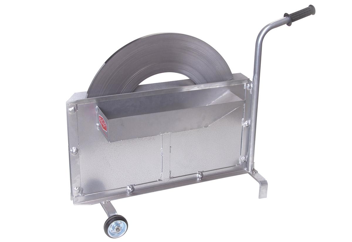 Stahlbandabrollwagen Scheibenwicklung